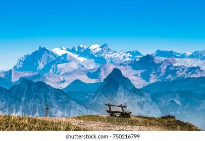 Alpine panorama from Rigi Kulm (Summit of Mount Rigi, Queen of the Mountains), canton Schwyz, central Switzerland