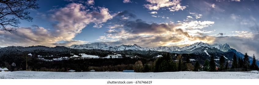 Alpine panorama seen from Garmisch Partenkirchen