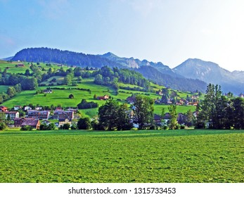 Alpine pastures and meadows on the slopes of Churfirsten mountain range in the Toggenburg region - Canton of St. Gallen, Switzerland