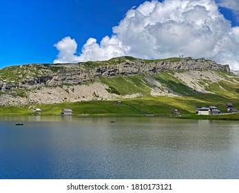 Alpine peak Bonistock below the Melchsee and Tannensee lakes and in the Uri Alps mountain massif, Melchtal - Canton of Obwald, Switzerland (Kanton Obwalden, Schweiz)