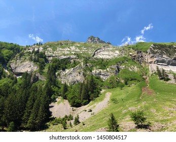 Alpine peak Schäfler (Schafler or Schaefler) in mountain range Alpstein and in the Appenzellerland region - Canton of Appenzell Innerrhoden (AI), Switzerland