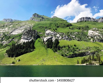 Alpine peaks Schäfler (Schafler or Schaefler) and Ebenalp in mountain range Alpstein and in the Appenzellerland region - Canton of Appenzell Innerrhoden (AI), Switzerland