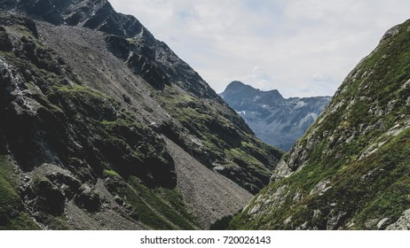 An alpine point of view looking directly over the hiking trail