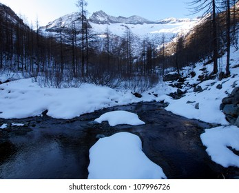 Alpine river in a winter morning