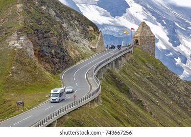 Alpine road, motorhome speeding, Eastern Alps