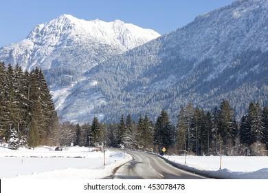 Alpine road in winter scenery, Austrian