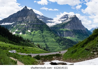 Alpine scenery along Going-to-the-Sun road in Glacier National Park, USA