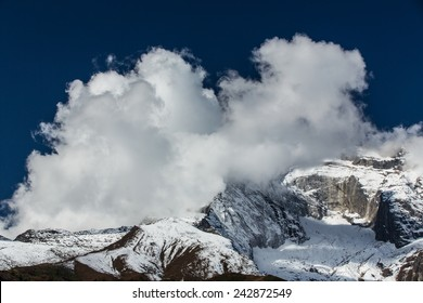 Alpine scenery in the Himalayas, with snow capped mountains