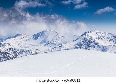 Alpine scenery in the winter, with deep snow cover