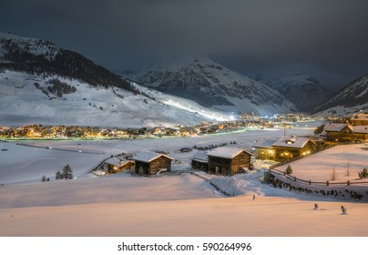 Alpine Ski Resort At Night, Winter Scenery, Livigno, Italy