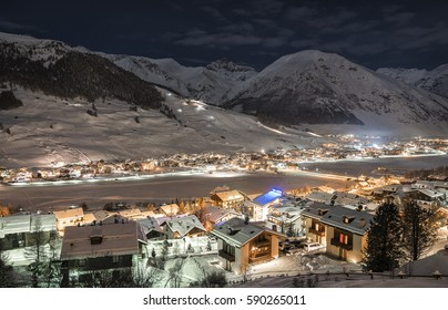 Alpine Ski Resort At Night, Winter Scenery, Livigno, Italy