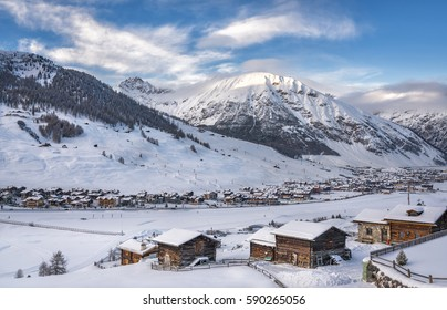Alpine Ski Resort And Ski Slopes in Winter, Livigno, Italy