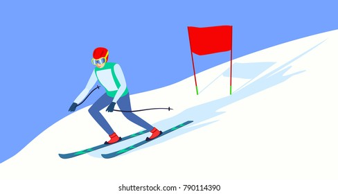 Alpine Skiing or downhill skiing - Men's Slalom. Alpine skier on the ski track. Descent from the mountain. Raster version.