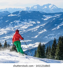 Alpine skiing in impressive mountain region in western austria with panorama of Säntis mountain range