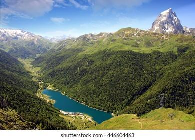 Alpine snowed mountain Pic du Midi Ossau in french pyrenees