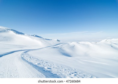 Alpine snowscape on a sunny day