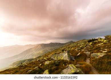 Alpine summer scenery with mist, fog and sunset warm light