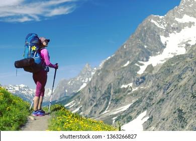 Alpine trekking in Austria extreme vacation view