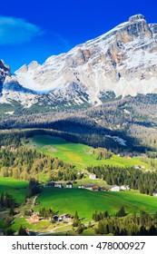 Alpine valley in the spring sunshine. Vertical photo.