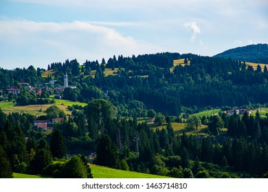 Alpine village with church in Asiago italy