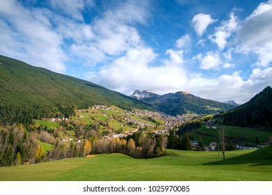Alpine village of Ortisei with blue sky in Dolomites, South Tyrol, Italy