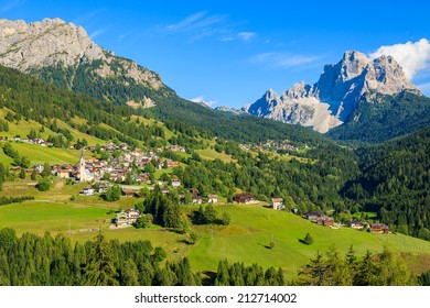 Alpine village Selva di Cadore in green valley with beautiful mountains view, South Tyrol, Dolomiti Mountains, Italy