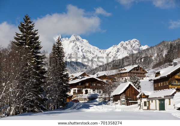 Alpine village in winter