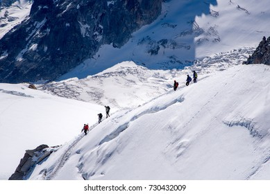 Alpinists come to climb at Mont Blanc massif, France