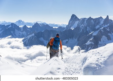 alpinists go over the mountain in French Alps