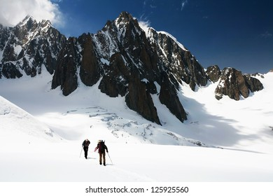 Alpinists traversing Mer de Glace, France, Europe