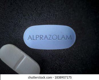 Alprazolam blue pill short acting tranquilizer of the benzodiazepine class used to treat anxiety disorders, panic disorder and chemotherapy induced nausea
