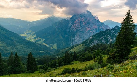 Alps. Beautiful nature. Valley, forest and mountains.