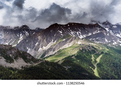 Alps in clouds next to Courmayeur, Italy.