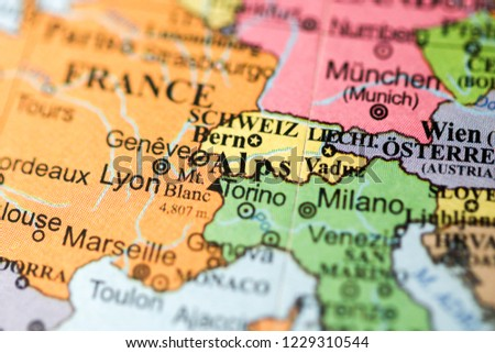 Alps Europe On Geography Map Stock Photo Edit Now 1229310544