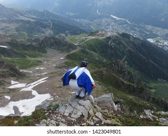 Alps, France, Tour du Mont Blanc - wingsuit, a squirrel man jumping from peak Le Brevent