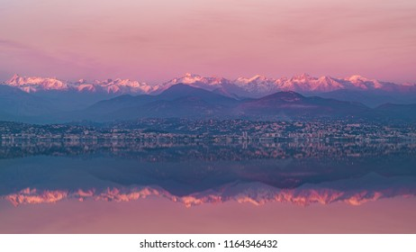 Alps and french Riviera panorama during a winter