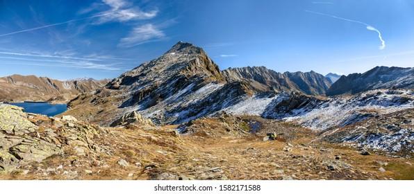 Alps high mountain at Passo del Sasso Nero, Lake Nerat, Lavizzara, Switzerland (large stitched file)