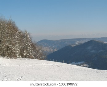 alps at horizon in winter with lots of snow in front of the Jura hills with blue sky. CH Switzerland