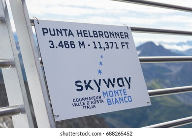 The Alps, Italy, 29 July 2017 - a sign on top of the mountain