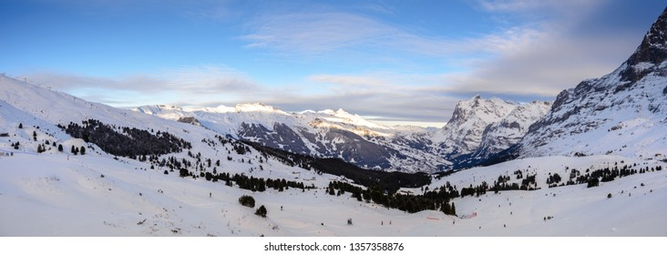 Alps. Jungfrau region near Interlaken in Switzerland. Snowy mountains in winter.
