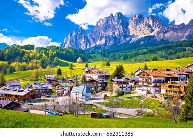 Alps landscape in Cortina D' Ampezzo, idyllic mountain peaks of Dolomites, Trentino Alto Adige region of Italy