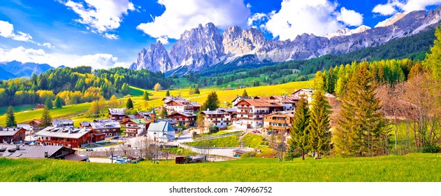 Alps landscape in Cortina D' Ampezzo panoramic view, idyllic mountain peaks of Dolomites, South Tyrol region of Italy