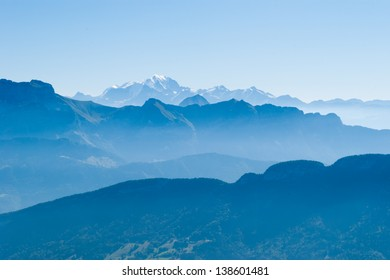 Alps and Mont Blanc (Monte Bianco) view from Cret de Chatillon, France (1)