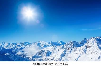 Alps mountain landscape. Beautiful winter landscape on sunny day