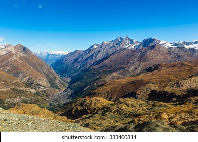 Alps mountain landscape next to Zermatt  in a beautiful day in Switzerland
