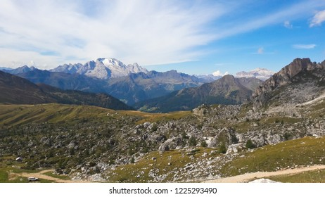 Alps Mountain landscape. View at the highest mountain in the Dolomites - Marmolada. Dolomites Italy. South Tyrol.