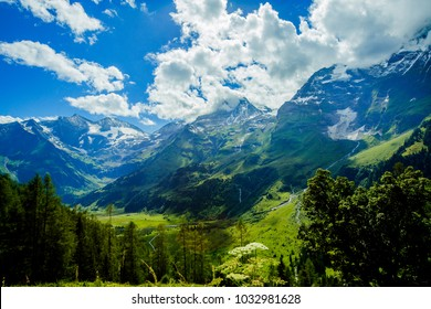 Alps mountain meadow tranquil summer view. Austria