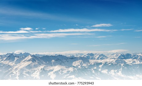 alps mountains landscape on blue gradient cloudy sky background