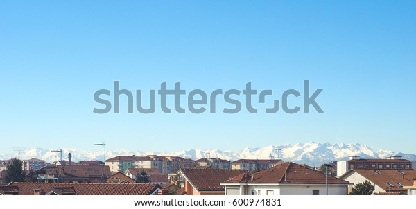 Alps mountains skyline seen from Settimo Torinese