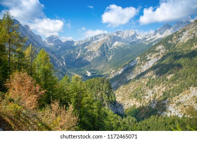 Alps mountains tranquil summer view in Slovenia